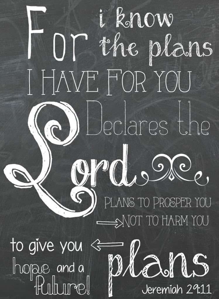 picture relating to Free Chalkboard Printable named Jeremiah 29:11 Totally free Chalkboard Printable - Foundational