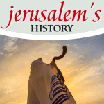 Jewish man with head covered blowing a ram's horn